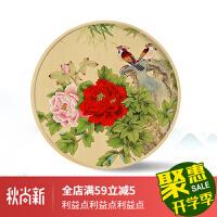 国画牡丹手绘新中式花开富贵客厅圆形图装饰画