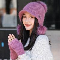 韩版可爱手套百搭兔毛帽子女 时尚潮加厚保暖帽子女 新款针织毛线帽子