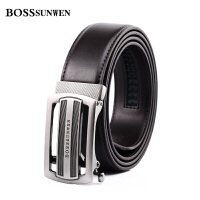 BOSSsunwen男士皮带牛皮自动扣青年休闲腰带男中年商务不锈钢扣啡色S77-033743B1TM