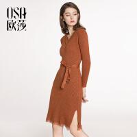 ⑩OSA【满200减100,上不封顶】欧莎2018春装新款女装时尚系带蕾丝连衣裙