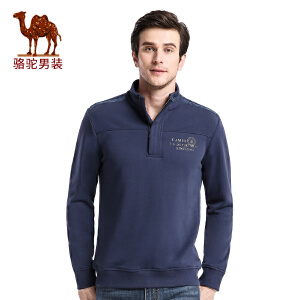 骆驼男装 秋季新款套头拉链立领宽松时尚休闲男士长袖卫衣男