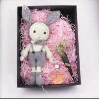 钩针diy材料包毛线编织玩偶娃娃钩针编织diy手工情侣长耳兔子书包针织用品