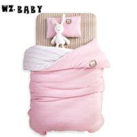 [当当自营]wz.baby儿童针织棉被套枕套枕芯被芯三套件120*150cm粉