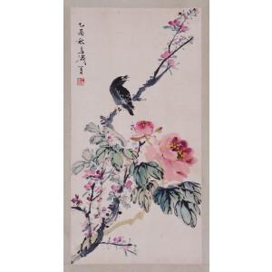 著名小写意花鸟画家  王雪涛《玉立-枝头》