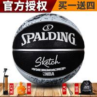 正品斯伯丁篮球NBA素描系列室外橡胶室内外耐磨防滑篮球 83-534Y
