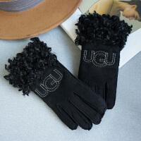 手套女士秋冬季时尚韩版休闲百搭加绒加厚骑车开车保暖麂皮绒五指手套