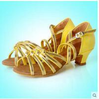 新款少儿舞蹈鞋子中跟软底练功舞蹈凉鞋儿童拉丁舞鞋