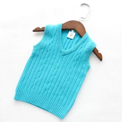 2018春秋装新款男童羊毛衫女童纯色背心儿童毛衣薄款马甲手工编织 湖蓝色 薄款 发货周期:一般在付款后2-90天左右发货,具体发货时间请以与客服协商的时间为准