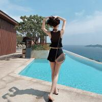 分体泳衣女三件套遮肚显瘦时尚性感黑色小胸聚拢平角海边度假游泳装