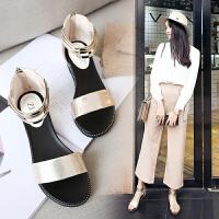 【掌柜推荐】ZHR2019夏季新款韩版百搭平底复古鞋子一字带学生凉鞋罗马潮女鞋