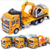 合金回力工程车套装挖掘挖土机搅拌车装载翻斗车玩具车小汽车模型