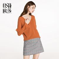 OSA【满200减100,上不封顶】欧莎2018春装新款女装V领宽松针织衫+复古格子短裙两件套装