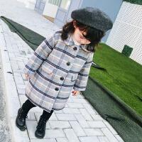 女童装装格子韩版加厚儿童呢大衣外套女宝宝夹棉呢子风衣1-26岁 本色
