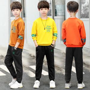 童装2018秋季新款男童贴布套装中大童长袖上衣+长裤两件套