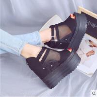 仙女风百搭时尚凉鞋女士厚底松糕内增高跟坡跟鱼嘴鞋