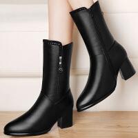 古奇天伦 新款粗跟防水台女靴圆头金属马丁靴高跟侧拉链中筒靴8526
