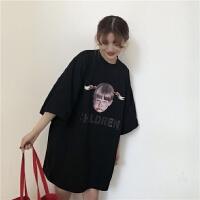 2018新款春季女装韩版原宿风中长款女孩印花宽松短袖T恤学生打底衫上衣潮