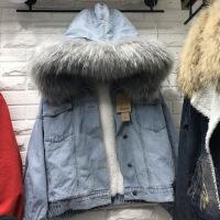 2018秋冬新款韩版加厚df原宿羊羔毛牛仔外套女加绒大毛领女冬