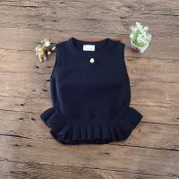 童装中大童女童毛线背心马甲针织上儿童女宝宝毛衣秋款上衣 1013