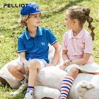 【618返场-狂欢继续】法国伯希和户外运动短袖 夏季新款男女童时尚轻薄透气翻领印花T恤