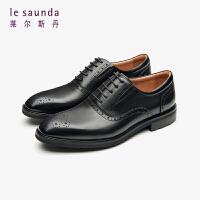 莱尔斯丹 男鞋时尚商务正装系带圆头布洛克牛津鞋低跟男鞋皮鞋LS ATM48208