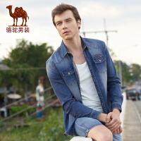 骆驼男装 秋季新款青春活力青年长袖牛仔衬衫男时尚合身衬衣