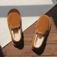 冬季懒人保暖棉鞋男女情侣款学生低帮浅口面包鞋一脚蹬加绒雪地靴