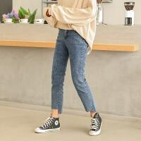 韩版大码女装冬装新款胖mm爱直筒牛仔裤胯宽大腿粗的女生裤子