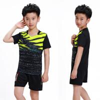 儿童乒乓球服女童羽毛球服套装男童短袖运动比赛球衣透气速干短裤 黑色 3869B黑色