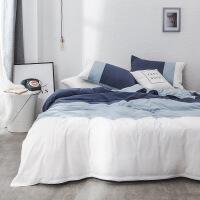 【官方旗舰店】北欧ins简约水洗棉四件套蓝色全棉纯棉1.8米床上用品纯色三件套4