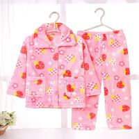 春秋季儿童睡衣珊瑚绒长袖法兰绒女童男童男孩宝宝卡通家居服套装 桔红色 006
