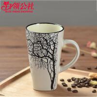 白领公社 马克杯 简约文艺陶瓷杯子办公室水杯家居奶茶杯牛奶杯咖啡杯马克杯带盖带勺