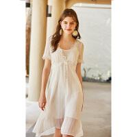 秋水伊人雪纺连衣裙2020夏装新款女装短袖白色法国小众桔梗裙子女