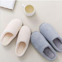 日式冬季家居室内保暖情侣拖鞋秋冬男女软底防滑布艺加绒棉拖鞋