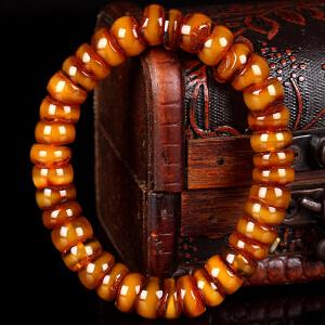 蜜蜡满蜡带皮算盘珠手串  直径10mm