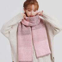 围巾女冬季韩版长款条纹仿羊绒加厚保暖百搭两用披肩冬天时尚款
