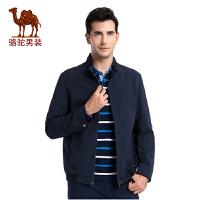 骆驼男装 秋季新款时尚立领散口袖商务休闲旅行夹克纯色外套男