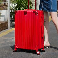 铝框拉杆箱万向轮密码行李箱旅行箱包登机箱子20/24/28寸男女皮箱 红色 复古直角拉链款 26寸【德国品质 终身保修