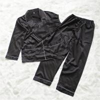 欧美春夏季长袖翻领家居服套装女冰仿丝绸纯色睡衣居家性感两件套