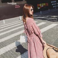 韩版8春夏新复古小心机初恋连衣裙女中长款格子温柔风露背长裙 红色