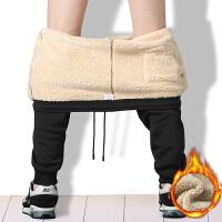 秋冬季加绒加厚束脚运动裤男士长裤羊羔绒小脚宽松休闲保暖棉卫裤