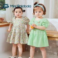 迷你巴拉巴拉女童纯棉泡泡袖连衣裙2021夏装A型裙滑爽洋气裙子