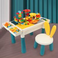 【蓓臣】可增高儿童大颗粒多功能积木桌一桌多用宝贝早教益智用品1桌1椅套装