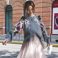 针织衫 女士圆领钉珠刺绣灯笼袖针织衫2020年秋季新款韩版时尚潮流女式宽松休闲女装套头衫