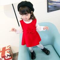 童装女童公主裙秋季儿童毛呢子背心裙两件套婴儿女宝宝秋装裙子 红色小 呢子蝴蝶结裙套