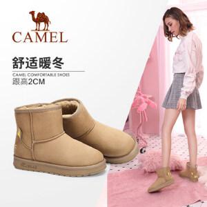 Camel/骆驼女鞋2018冬季新品加绒棉鞋纯色简约短筒靴保暖雪地靴