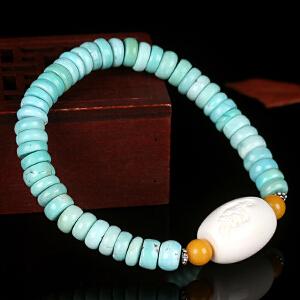原矿高瓷绿松石算盘珠DIY手串 配象牙桶珠 重17.59g
