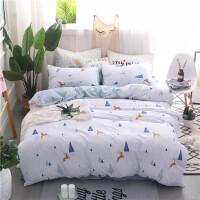 君别简约ins小清新水洗棉四件套床单被套1.8m床上用品套件1.2米学生床
