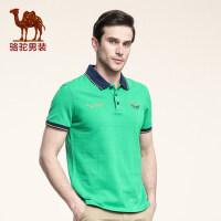 骆驼男装 夏季翻领纯棉短袖T恤 男士日常休闲纯色绣字母修身体恤