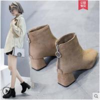 粗跟加绒短靴女冬季新款加绒网红瘦瘦靴冬短筒马丁靴